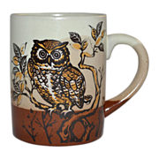 SALE 1970s Haunted Owl Pottery Mug