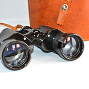 SALE Large Black Binoculars w/ Original Leather Case