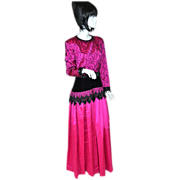 SALE Gothic Couture Hot Pink & Black Formal Gown/Dress