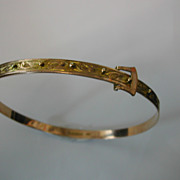 Large size 1927 ENGLISH Gold Hallmarked engraved Expanding Bangle