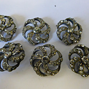 Set of 6 Antique French Past Silver Buttons