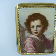 Vintage18k Gold framed Picture Brooch