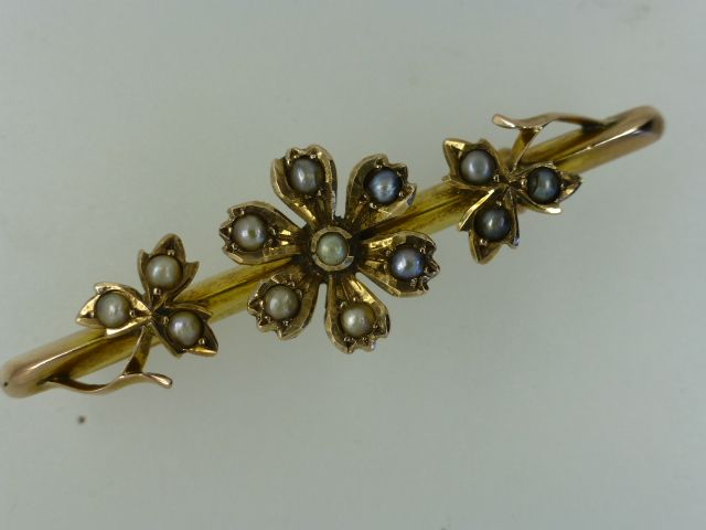 Lovely Gold Seed Pearl Victorian Brooch