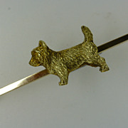 Charming ENGLISH 14ct. Gold West Highland DOG Brooch