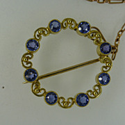 Cornflower coloured Sapphire Brooch