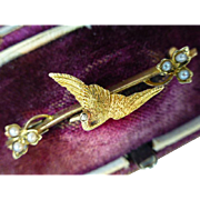 "15 k  Antique Gold ""Stork"" Bird Brooch"