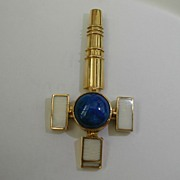 Hallmarked  Celtic Cross set with  Lapis
