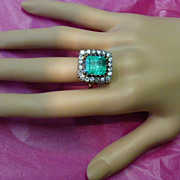 A Fine , Very Large..... 5.91 Carat   Emerald & Diamond ENGLISH Ring
