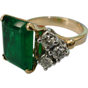 Very Large Natural EMERALD & Diamond Ring