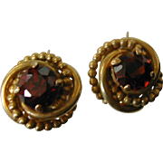 Garnet Vintage Gold Ear Screws