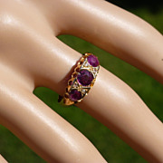1915 English Ruby & Diamond 18k Ring