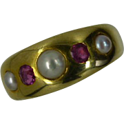 Victorian 18k Pearl & Ruby &quot;Gipsy&quot; set Ring