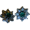 English Emerald & Diamond 14k Ear Studs