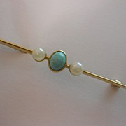 English Victorian Turquoise & Pearl 15ct. Brooch