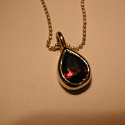 18 carat gold Garnet Drop Necklace