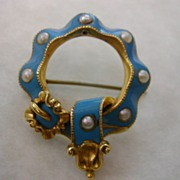 ENGLISH Blue enamel 18 ct.  pearl  Brooch