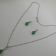 Jade & Diamond Ear Drops and Pendent