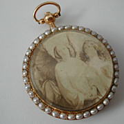 Large ENGLISH 18 k Gold & Seed Pearl Locket