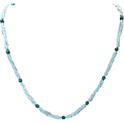 30&quot; long Malachite, Pearls& Gold Necklace