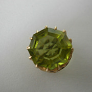 Large fine Antique ENGLISH Octagon Peridot Stick Pin