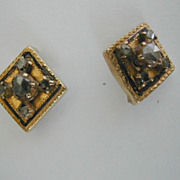 Georgian Gold Rose Diamond & Enamel Ear Studs