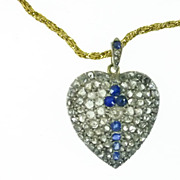 Large French Rose Diamond & Sapphire Pendent