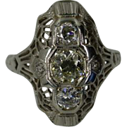 3 stone Diamond  18k white Gold Filigree Ring