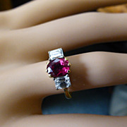 "The finest ""Pigeon Blood""Ruby & Diamond 3 Stone Ring"