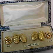 Engraved 1926 ENGLISH gold Cuff Link cased set