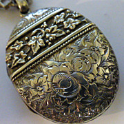 ENGLISH Victorian Oval Silver Chased Locket & Chain