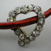 Diamond HEART & Enamel  Brooch