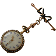 Antique 1905 Gold Enamel & Pearl Fob Watch