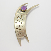 Sterling Amethyst Figural Vintage Mod Brooch
