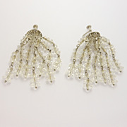 Silver Deco Tiered Cut Crystal Earrings