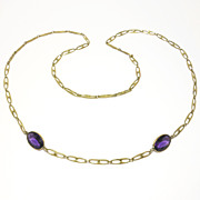 Art Deco Amethyst Glass & Brass Fancy Chain