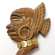 Carved Wood African Figural Deco Brooch