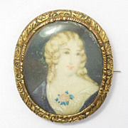 Ornate Victorian Portrait Miniature Brooch