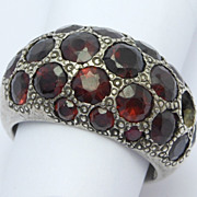 Antique Silver Pave Dome Garnets Ring as Is