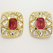 Gorgeous Vintage Swarovski Ruby Designer Earrings