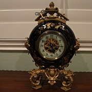 Antique French Bronze and Sevres Porcelain Clock