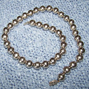 SALE REDUCED ~~ Sterling Silver Ball Bead Necklace ~ Vintage