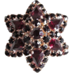 Bohemian Garnet  Cluster Brooch with 14K Gold Fill ~ Vintage Beauty Galore