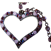 SALE REDUCED ~ DIOR Open Heart Lined With Pink Sapphire-Colored Glass Beads