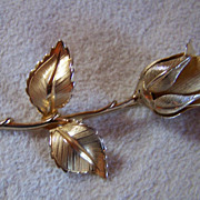 SALE GIOVANNI ~ Vintage Gold-Toned Rose Brooch ~ One of a Pair. See #1053