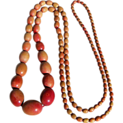 SALE REDUCED ~ Vintage Wooden Apple-Tone Beaded Necklace