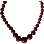 SALE REDUCED ~ Vintage Cranberry Beaded Necklace ~  Gorgeously Graduated ~ Strung Superbly