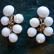 SALE REDUCED AGAIN ~ MilkGlass Cluster Clip-On Earrings ~ Vintage Chinese