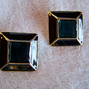 SALE Square Blue & Black Clip On Earrings Vintage Gold Tone