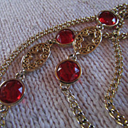 SALE YSL ~ Vintage Ruby Red Glass Cabochons Emblazon A Gold-Toned Necklace