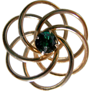 SALE REDUCED ~ Edwardian LOVE KNOT Brooch ~ Stunning Green Glass Center Stone